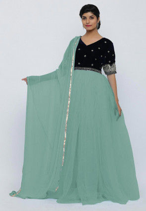 Hand Embroidered Net Abaya Style Suit in Pastel Green and Dark Blue