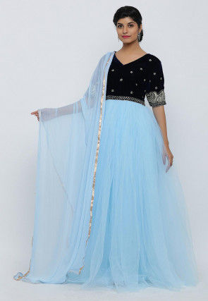 Hand Embroidered Net Abaya Style Suit in Sky Blue and Navy Blue