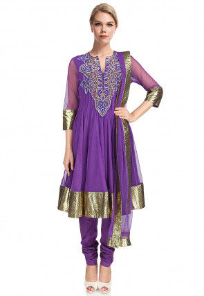 Hand Embroidered Net Anarkali Suit in Purple