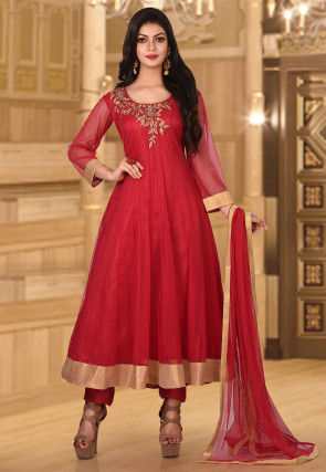 Hand Embroidered Net Anarkali Suit in Red