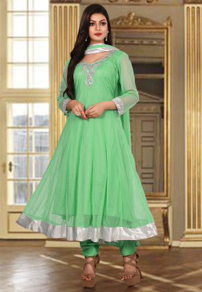 Hand Embroidered Net Anarkali Suit in Sea Green