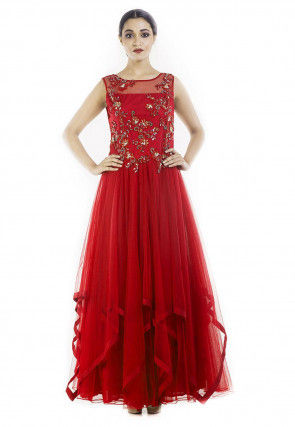 Hand Embroidered Net Asymmetric Abaya Style Suit in Red