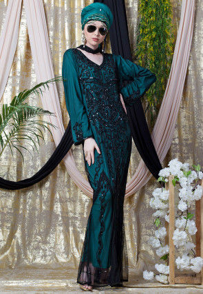 Hand Embroidered Net Mermaid Abaya in Black and Dark Teal Blue