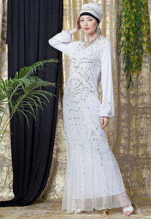 Hand Embroidered Net Mermaid Abaya in White