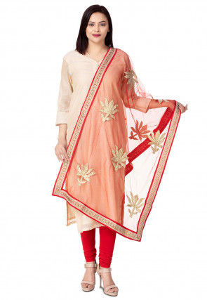 Hand Embroidered Net Dupatta in Red