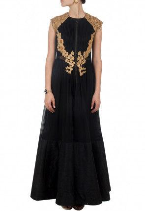 Hand Embroidered Net Flared Gown in Black