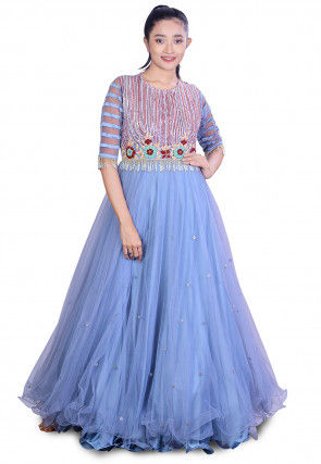 Embroidered Net Flared Gown in Light Blue
