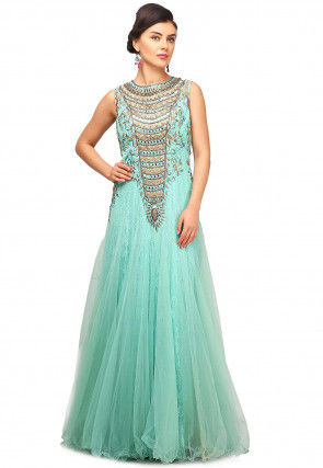 Hand Embroidered Net Flared Gown in Light Blue