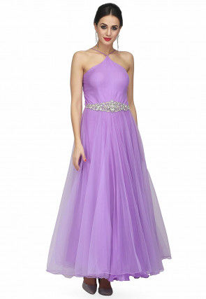 Hand Embroidered Net Flared Gown in Light Purple