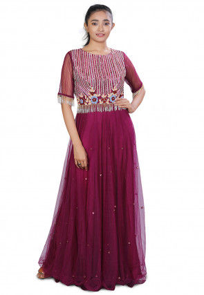 Embroidered Net Flared Gown in Magenta