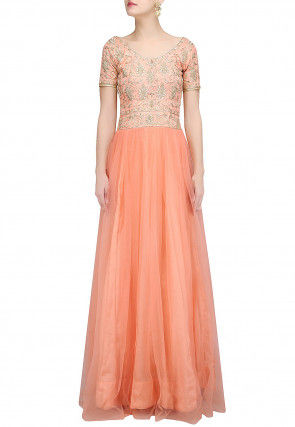 Hand Embroidered Net Flared Gown in Orange