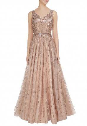 Hand Embroidered Net Flared Gown in Peach