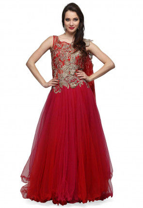 Hand Embroidered Net Flared Gown in Red