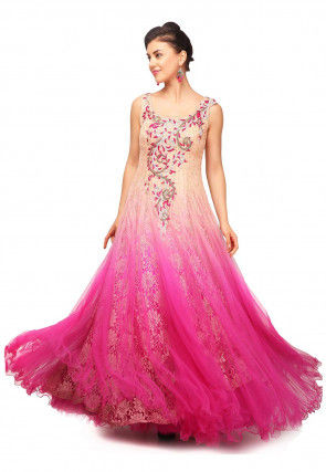 Hand Embroidered Net Flared Gown in Shaded Peach and Fuchsia