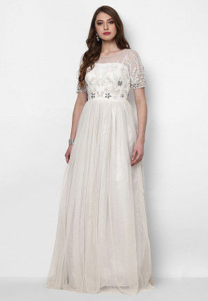 Hand Embroidered Net Flared Gown in White