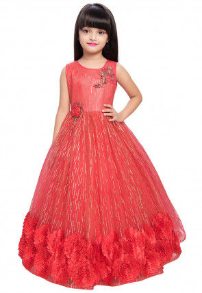 Hand Embroidered Net Gown in Coral Pink