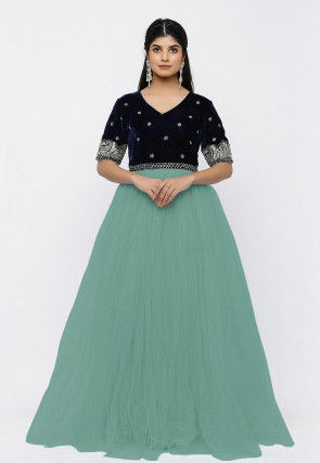 Hand Embroidered Net Gown in Light Teal Green and Black