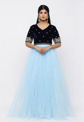 Hand Embroidered Net Gown in Sky Blue and Navy Blue