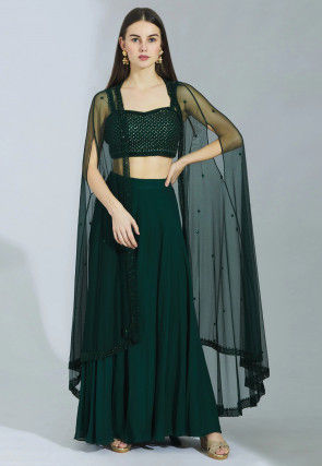 Hand Embroidered Net Jacket Style Crop Top with Skirt in Green