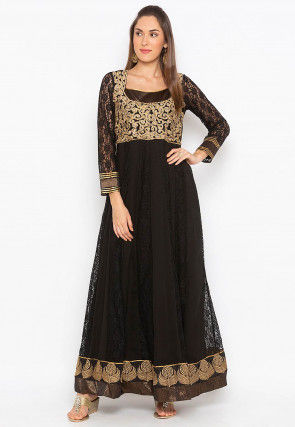 Hand Embroidered Net Jacquard Long Kurta in Black