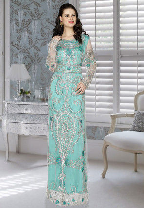 Hand Embroidered Net Layered Abaya in Light Turquoise