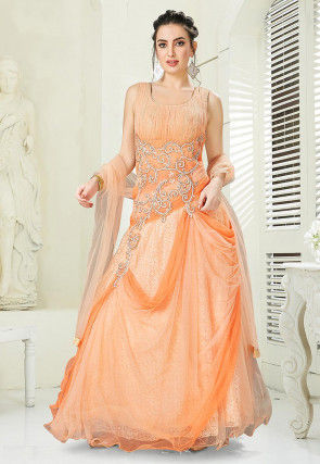 Hand Embroidered Net Layered Gown in Peach