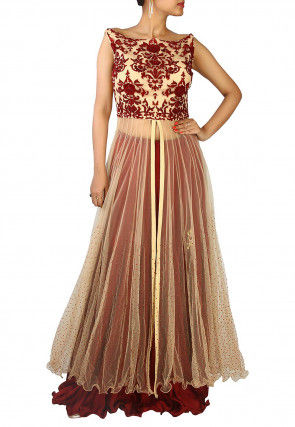 Hand Embroidered Net Lehenga in Beige