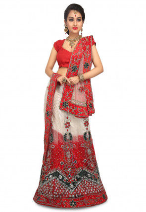 Hand Embroidered Net Lehenga in Cream and Red
