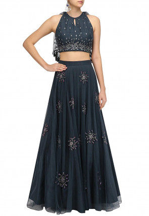 Hand Embroidered Net Lehenga in Dark Blue