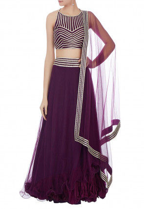 Hand Embroidered Net Lehenga in Dark Violet
