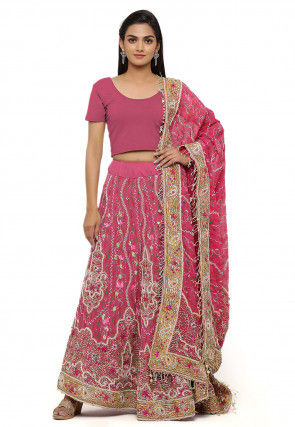 Hand Embroidered Net Lehenga in Pink