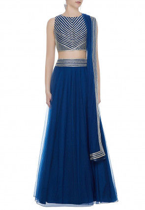 Hand Embroidered Net Lehenga in Royal Blue
