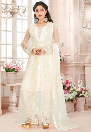 Hand Embroidered Net Pakistani Suit in Cream