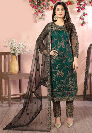 Hand Embroidered Net Pakistani Suit in Dark Teal Green