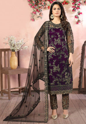 Hand Embroidered Net Pakistani Suit in Wine