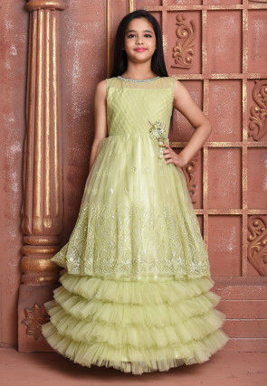 Hand Embroidered Net Ruffled Gown in Pastel Green