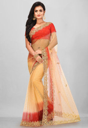 Hand Embroidered Net Saree in Beige