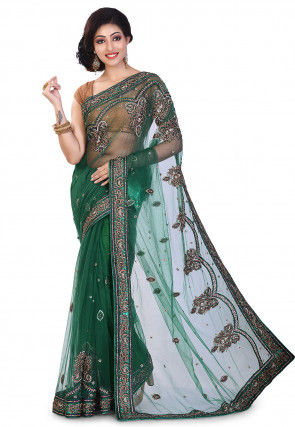 Hand Embroidered Net Saree in Green