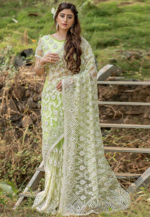 Hand Embroidered Net Saree in Light Green