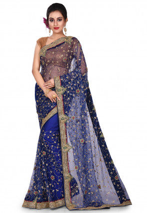 Hand Embroidered Net Saree in Navy Blue