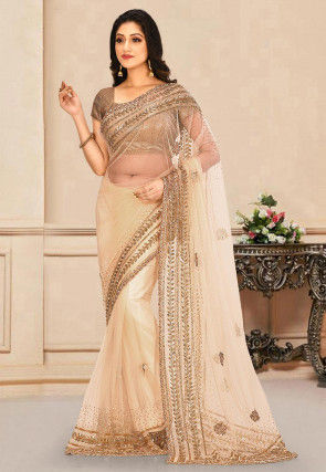 Hand Embroidered Net Saree in Off White