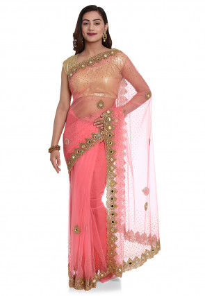Hand Embroidered Net Saree in Peach