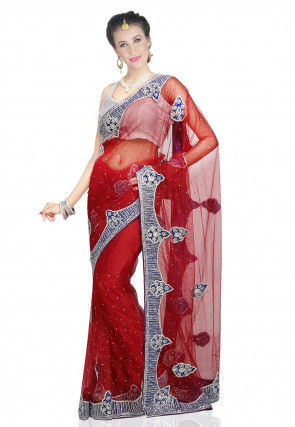 Hand Embroidered Net Saree in Red