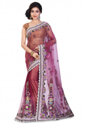 Hand Embroidered Net Saree in Shaded Pink