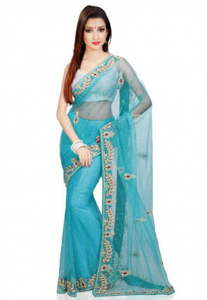 Hand Embroidered Net Saree in Sky Blue