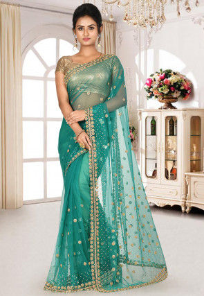 Hand Embroidered Net Saree in Teal Green