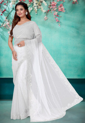 Hand Embroidered Net Saree in White