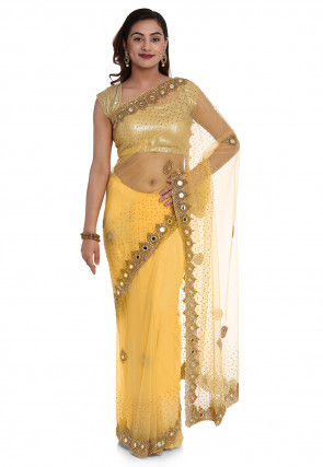 Hand Embroidered Net Saree in Yellow