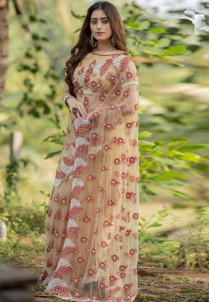 Hand Embroidered Net Scalloped Saree in Beige