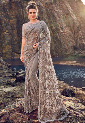 Hand Embroidered Net Scalloped Saree in Fawn
